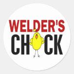 Welder's Chick Classic Round Sticker