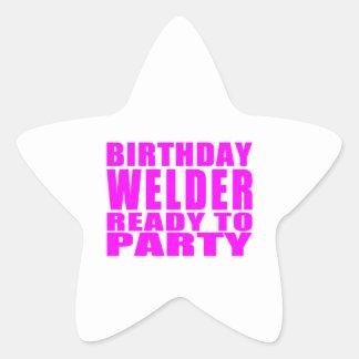 Welders : Pink Birthday Welder Ready to Party Star Stickers