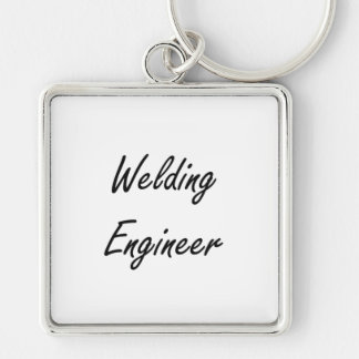 Welding Engineer Artistic Job Design Silver-Colored Square Keychain