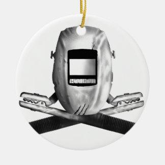 Welding Hood and Cross Stingers Ceramic Ornament