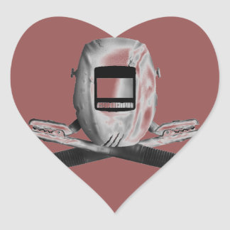 Welding Hood and Cross Stingers Heart Sticker