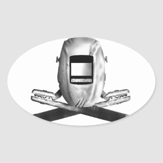 Welding Hood and Cross Stingers Oval Sticker