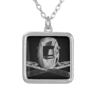 Welding Hood and Cross Stingers Silver Plated Necklace