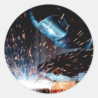 Welding Sparks Classic Round Sticker