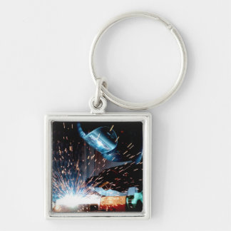 Welding Sparks Silver-Colored Square Keychain