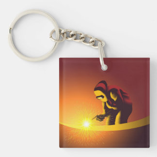 Welding Worker Double-Sided Square Acrylic Keychain
