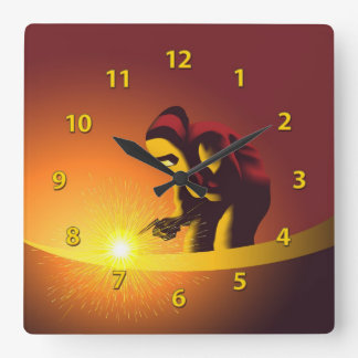 Welding Worker Square Wall Clock