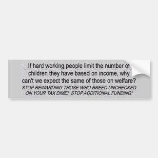Welfare Funding Car Bumper Sticker