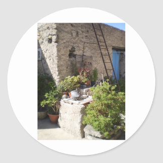 Well and Plants in Southern Italy Classic Round Sticker