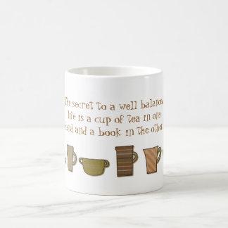 Well Balanced Life Cup of Tea Book Mug Basic White Mug