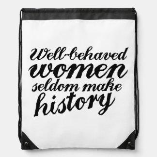 Well behaved women drawstring backpack