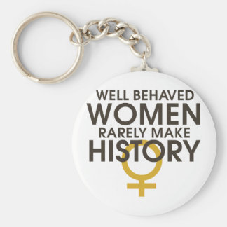 Well behaved women rarely make history basic round button keychain