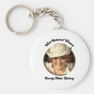 Well Behaved Women Rarely Make History Key Fob Basic Round Button Keychain