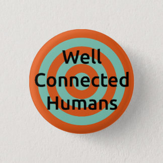 Well Connected Humans Target Badge, Orange/Blue Button