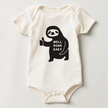 USA Themed Well Done Baby Classic Sloth Organic Bodysuit