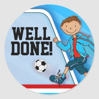 Well done! boys blue football soccer sticker