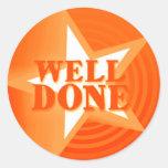 Well done star praise sticker orange round sticker