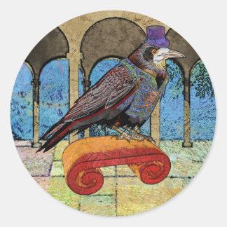 Well Dressed Raven Classic Round Sticker