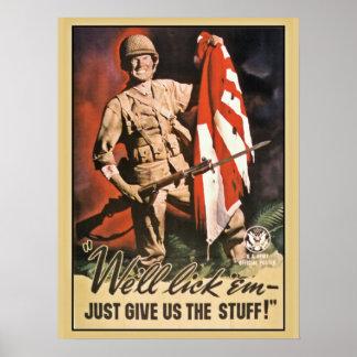 We'll lick 'em American World War 2 propaganda Poster