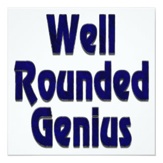 Well Rounded Genuis Blue 5.25x5.25 Square Paper Invitation Card