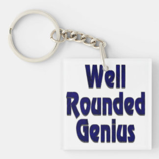 Well Rounded Genuis Blue Double-Sided Square Acrylic Keychain