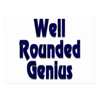 Well Rounded Genuis Blue Postcard
