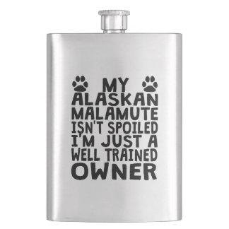 Well Trained Alaskan Malamute Owner Hip Flasks