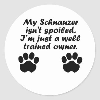 Well Trained Schnauzer Owner Classic Round Sticker