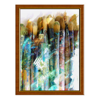 Well Used Artist Paintbrushes Postcard
