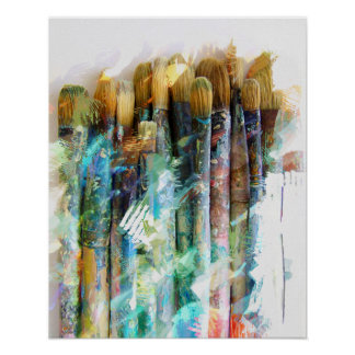Well Used Artist Paintbrushes Poster