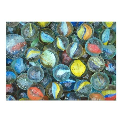 Well-used marbles invitations