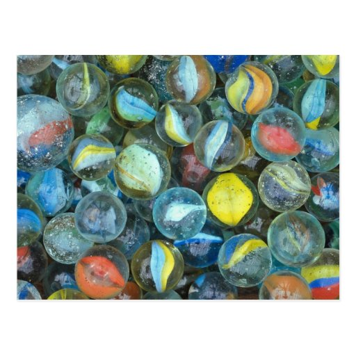 Well-used marbles postcard