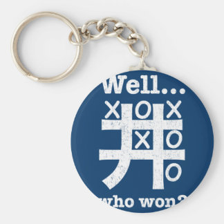 Well...who won? in white distressed keychain