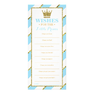 Well Wishes Card, Baby Shower, Prince, Faux Gold Rack Card