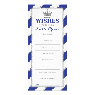 Well Wishes Card, Baby Shower, Prince, Faux Silver Rack Card