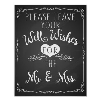 well wishes chalkboard wedding sign poster
