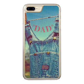 """WELL-WORN BIBS DRYING ON CLOTHESLINE""/""DAD"" CARVED iPhone 8 PLUS/7 PLUS CASE"