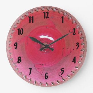 Well Worn Red Circular Saw Blade Photograph Large Clock