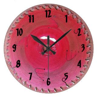 Well Worn Red Circular Saw Blade Photograph Large Clock