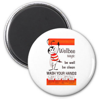 Wellbee CDC WASH YOUR HANDS Advertisement Poster 2 Inch Round Magnet