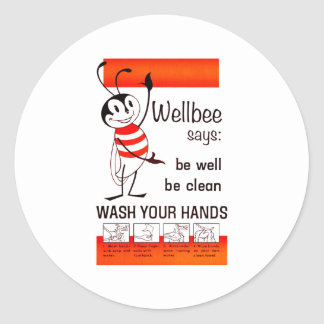 Wellbee CDC WASH YOUR HANDS Advertisement Poster Classic Round Sticker