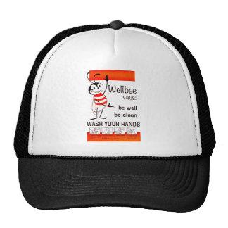 Wellbee CDC WASH YOUR HANDS Advertisement Poster Trucker Hats