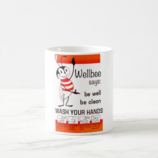 Wellbee CDC WASH YOUR HANDS Advertisement Poster Coffee Mugs