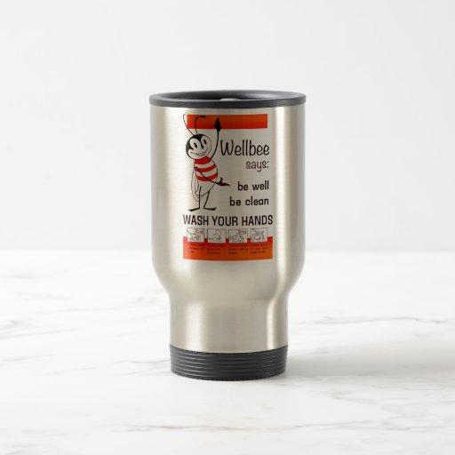 Wellbee CDC WASH YOUR HANDS Advertisement Poster Coffee Mug