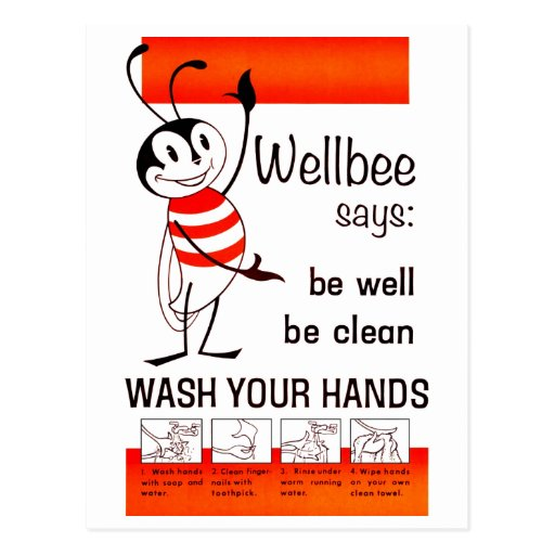 Wellbee CDC WASH YOUR HANDS Advertisement Poster Postcards