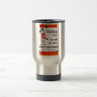 Wellbee CDC WASH YOUR HANDS Advertisement Poster Travel Mug
