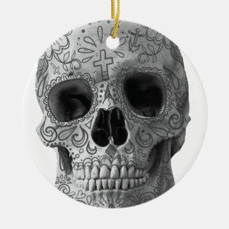 Wellcoda 3D Skull Horror Face Aztec Head Ceramic Ornament