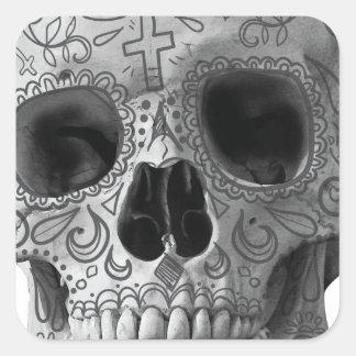 Wellcoda 3D Skull Horror Face Aztec Head Square Sticker