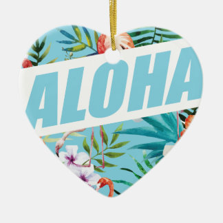 Wellcoda Aloha Summer Flamingo Holiday Ceramic Ornament
