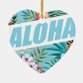 Wellcoda Aloha Summer Flamingo Holiday Ceramic Ornament
